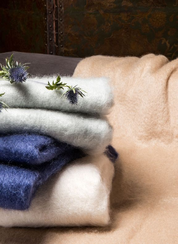 beige luxury mohair throw