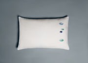 Galets rectangular pillow case with blue and green embroideries